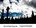 silhouette of graveyard  the... | Shutterstock . vector #760250389