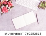 pink roses on grey table with... | Shutterstock . vector #760253815