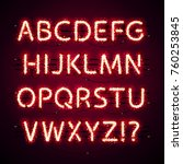 glowing neon red alphabet with... | Shutterstock .eps vector #760253845