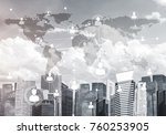 modern cityscape with buildings ... | Shutterstock . vector #760253905