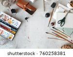 workplace of freelance artist... | Shutterstock . vector #760258381