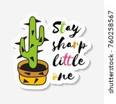 sticker with cactus in pot with ... | Shutterstock .eps vector #760258567