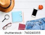 flat lay of traveler's...   Shutterstock . vector #760260355