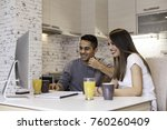 happy young couple planning... | Shutterstock . vector #760260409