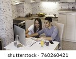 happy young couple planning... | Shutterstock . vector #760260421