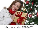 a pretty girl at christmas... | Shutterstock . vector #7602637