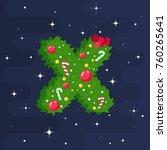 alphabet vector in christmas... | Shutterstock .eps vector #760265641