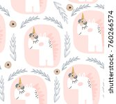 cute seamless pattern with... | Shutterstock .eps vector #760266574