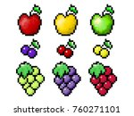 pixel fruits set. apple  cherry ... | Shutterstock . vector #760271101