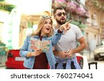 couple of young tourists with... | Shutterstock . vector #760274041