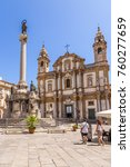 Small photo of PALERMO, SICILY, ITALY - JUL 09, 2016: The Column of the Virgin of Immaculate (1728) and the Baroque façade (1726) of the church (1640) San Domenico