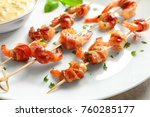 skewered shrimps wrapped in... | Shutterstock . vector #760285177