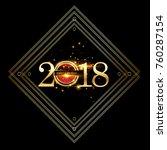 vector 2018 happy new year... | Shutterstock .eps vector #760287154