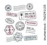 set of blank postage stamps... | Shutterstock .eps vector #760291135