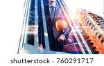 architect man and his project.... | Shutterstock . vector #760291717