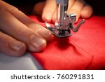 woman sewing on machine  closeup | Shutterstock . vector #760291831
