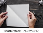 hands making white origami... | Shutterstock . vector #760293847