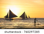 silhouette of typical sailing... | Shutterstock . vector #760297285
