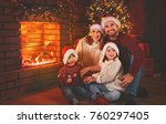 happy family father mother and... | Shutterstock . vector #760297405