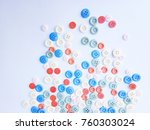 colorful buttons on white ... | Shutterstock . vector #760303024