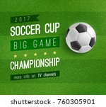 soccer ball on football field... | Shutterstock .eps vector #760305901