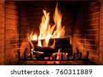 close up of burning fireplace... | Shutterstock . vector #760311889