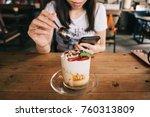 young asian woman having... | Shutterstock . vector #760313809