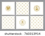 luxury retro x mas cards with... | Shutterstock .eps vector #760313914