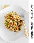 Small photo of Brazilian rice salad vegan recipe. Vegan food. Close up.