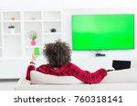 young handsome man in bathrobe... | Shutterstock . vector #760318141