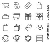 thin line icon set   cart ... | Shutterstock .eps vector #760325329