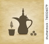 arabic coffee pot old on grunge ... | Shutterstock .eps vector #760326079