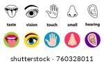set of five human senses ... | Shutterstock .eps vector #760328011