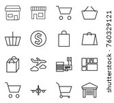 thin line icon set   shop  cart ... | Shutterstock .eps vector #760329121