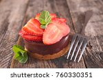 chocolate cake with strawberry | Shutterstock . vector #760330351