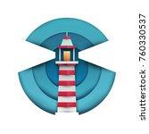 cartoon lighthouse in paper cut ... | Shutterstock .eps vector #760330537