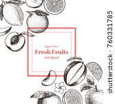vector frame with fruits and... | Shutterstock .eps vector #760331785