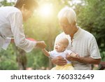 baby grandson and grandparents... | Shutterstock . vector #760332649