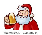 happy santa claus with mug of... | Shutterstock .eps vector #760338211