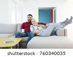 happy young couple hugging and... | Shutterstock . vector #760340035