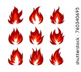 set of fire symbols in orange... | Shutterstock . vector #760340695
