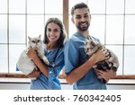 handsome doctor veterinarian... | Shutterstock . vector #760342405