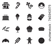 candy shop icons. black flat... | Shutterstock .eps vector #760343575