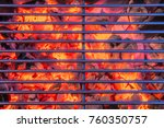 heated grill with glowing coal... | Shutterstock . vector #760350757