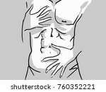 passionate hug  male torso and... | Shutterstock .eps vector #760352221
