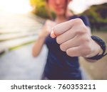 the girl holds the punch  ready ... | Shutterstock . vector #760353211