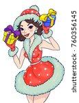lovely girl in a snow maiden...   Shutterstock .eps vector #760356145