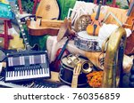 pile of different old musical... | Shutterstock . vector #760356859