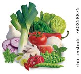 mixed vegetables on white... | Shutterstock . vector #760358875