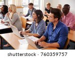 mature students sitting at... | Shutterstock . vector #760359757